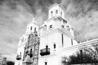 Mission San Xavier del Bac facade in Tucson, AZ
