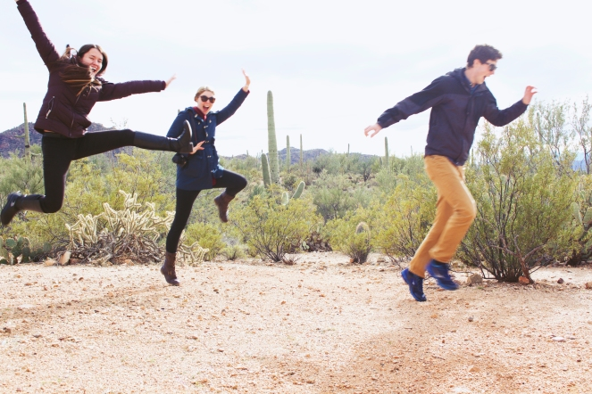 Leaping for joy in Saguaro National Park